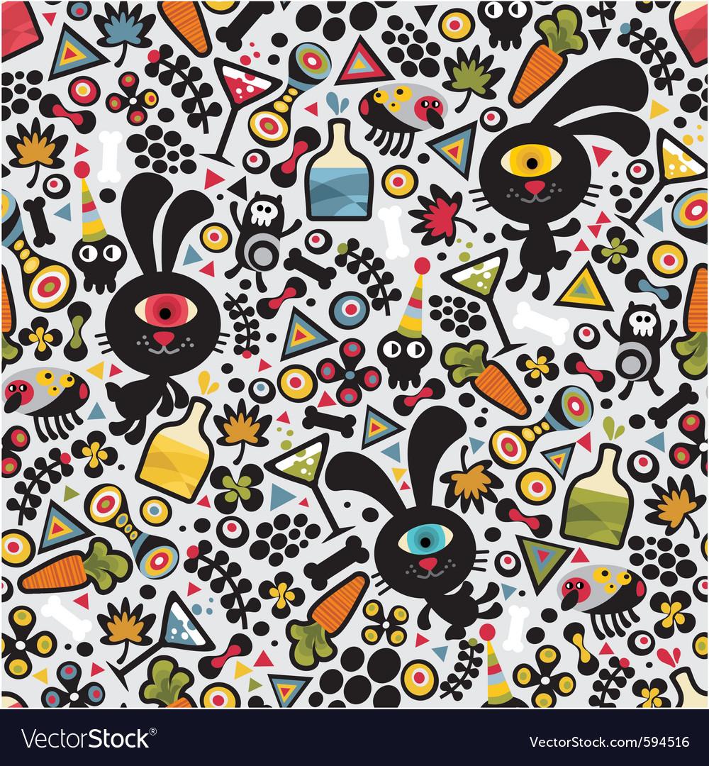 Drunk bunny wallpaper vector image