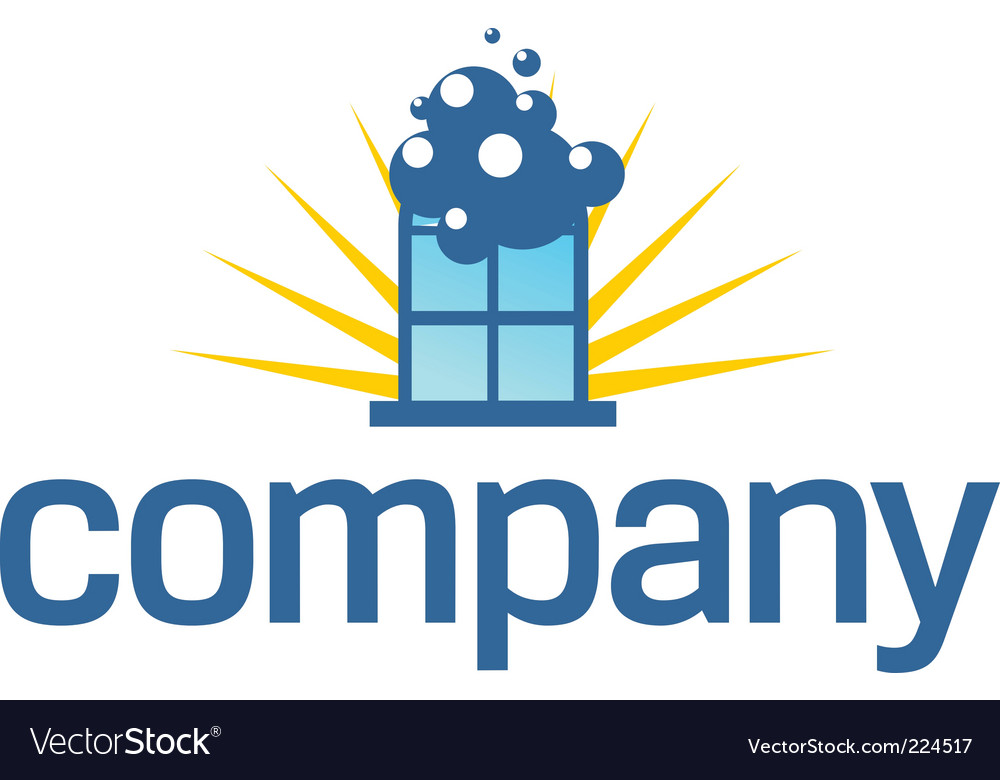 Window cleaning service logo vector image