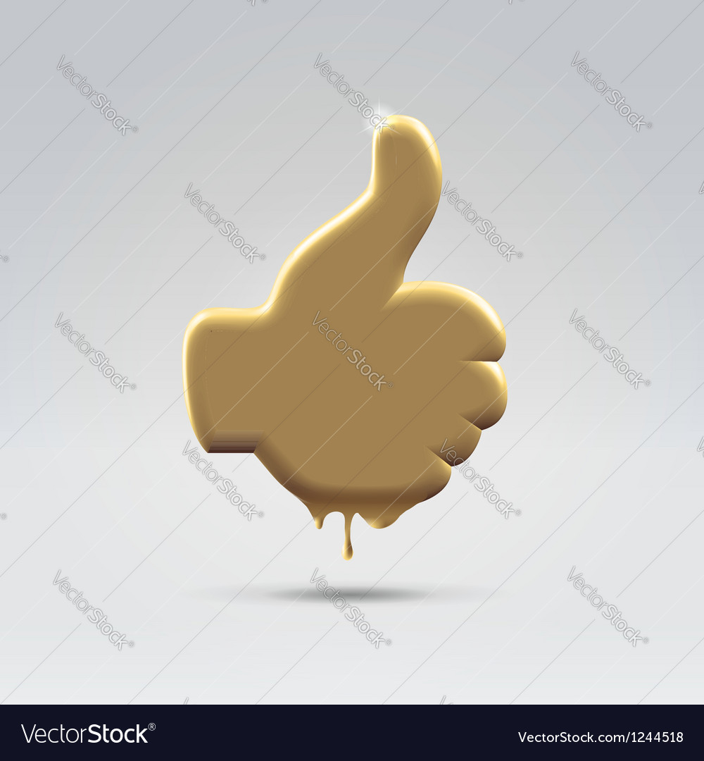 Golden melting like thumb hand vector image