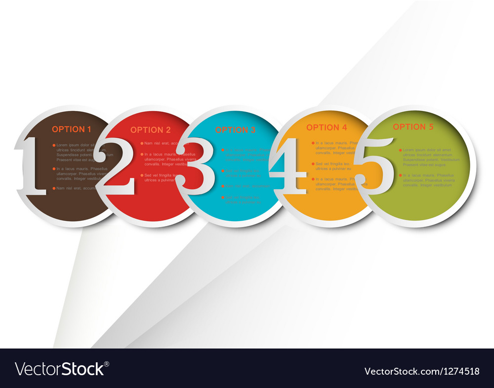Colorful round numbered banners for Infographics vector image