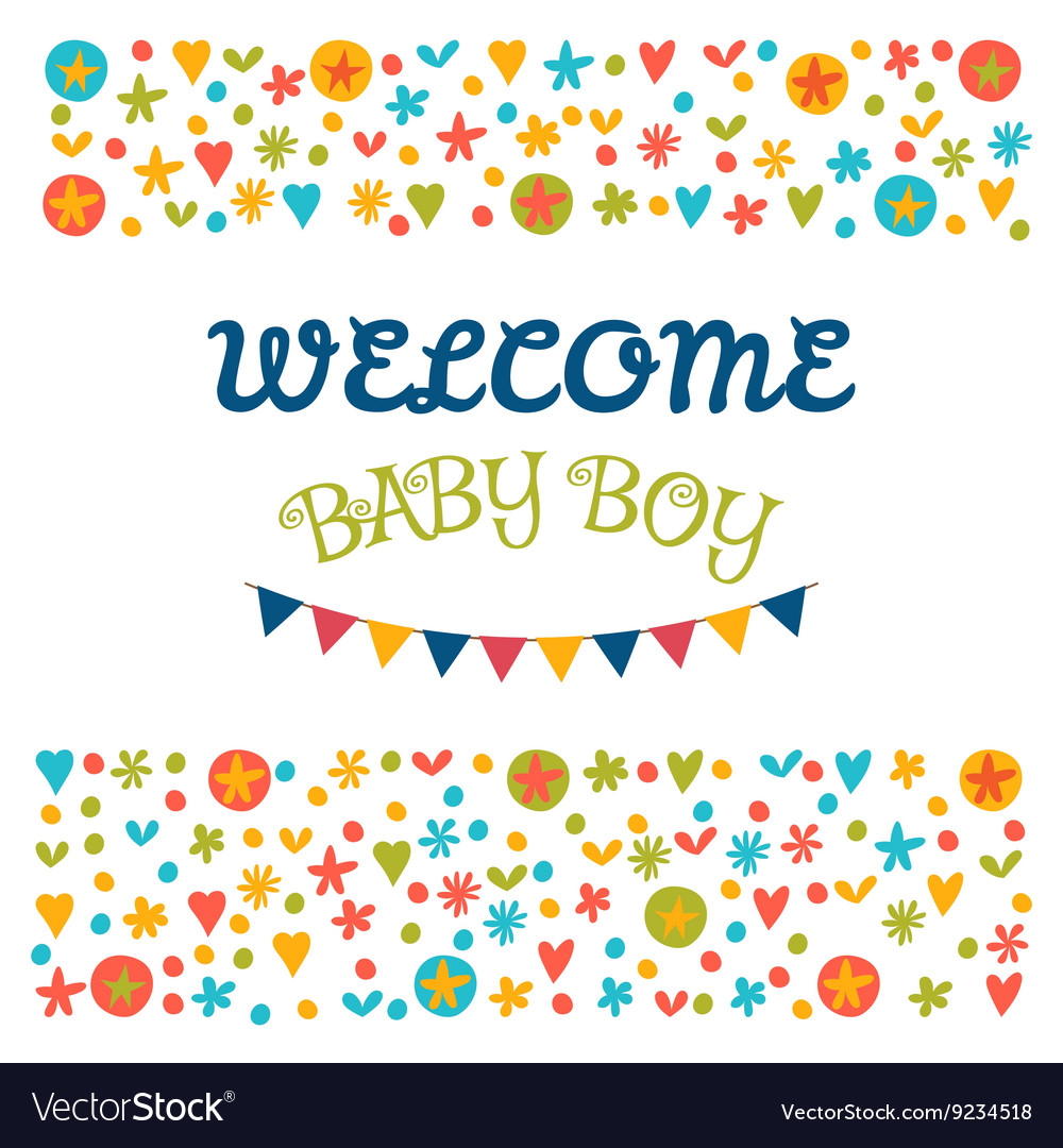 welcome baby boy baby shower greeting card baby vector image