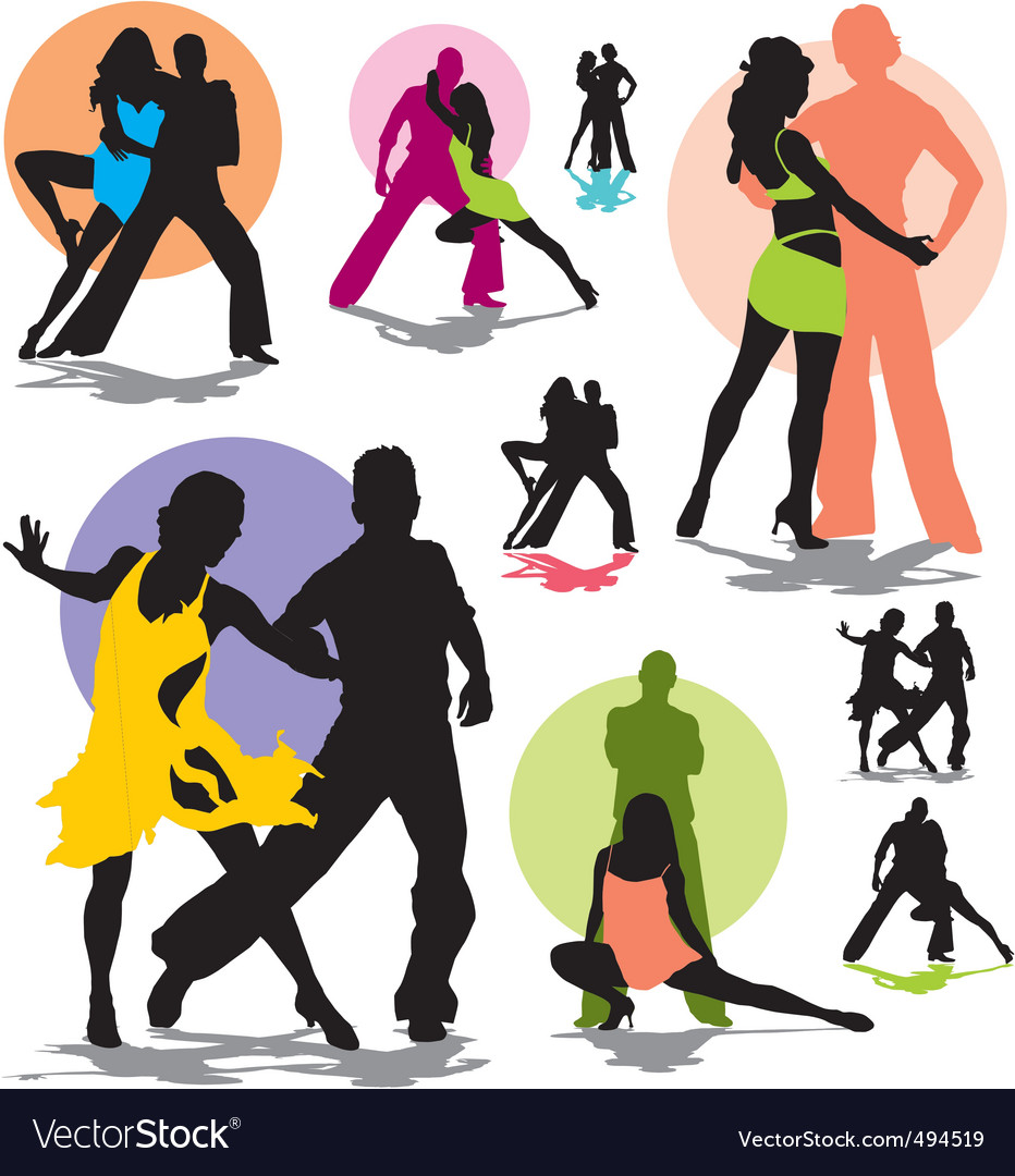 Set dance stars silhouettes vector image