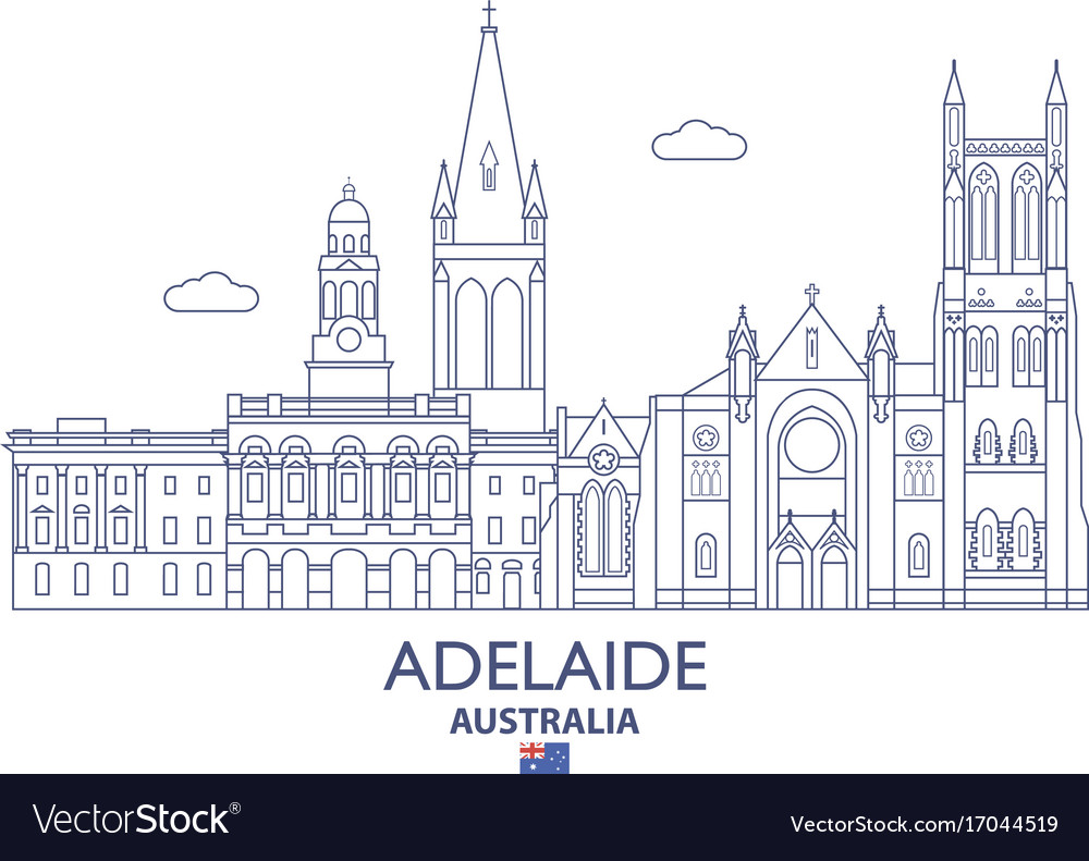 Adelaide city skyline vector image