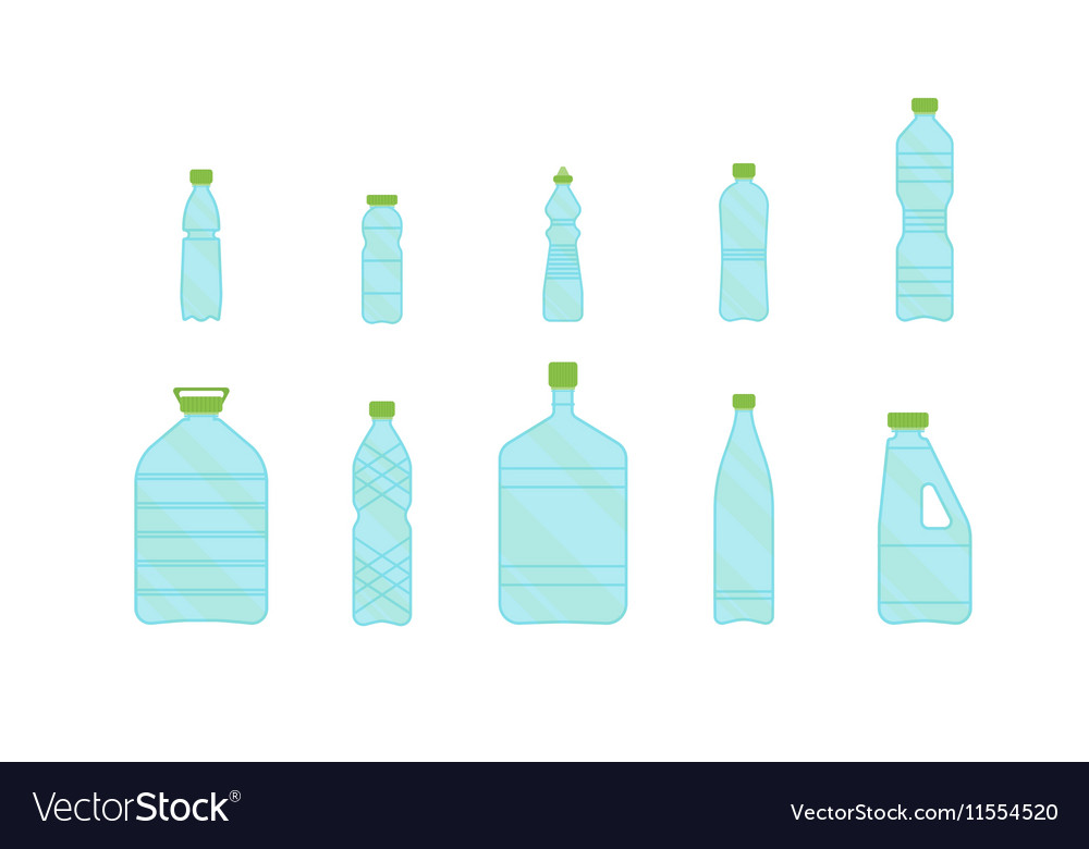 Plastic Different Bottles Set for Liquid vector image