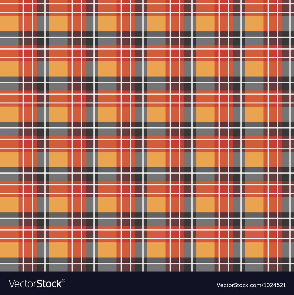 Orange plaid fabric vector image
