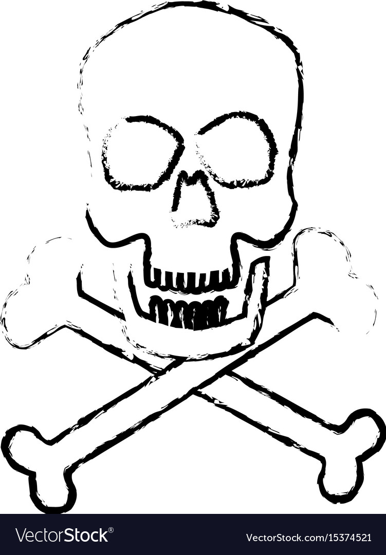 Skull crossed bones danger poison symbol medical vector image