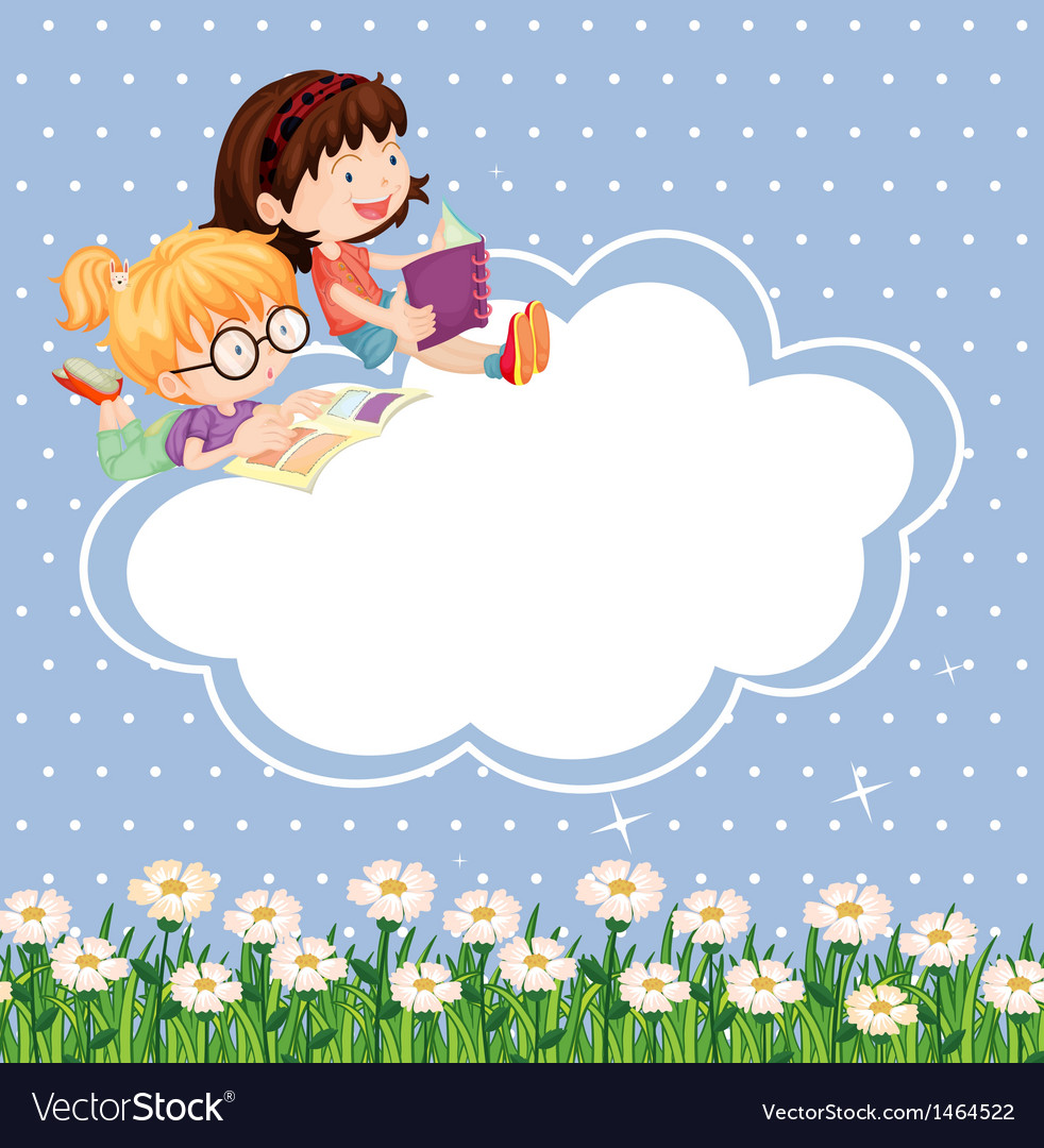 A stationery with kids reading vector image