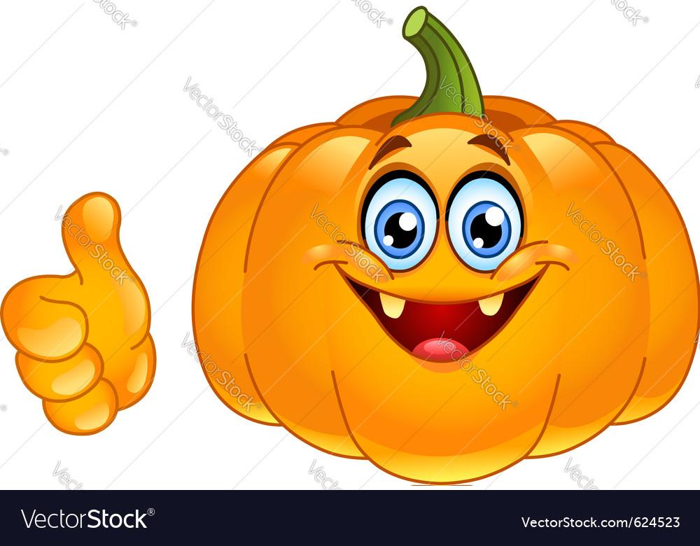 Thumb up pumpkin vector image