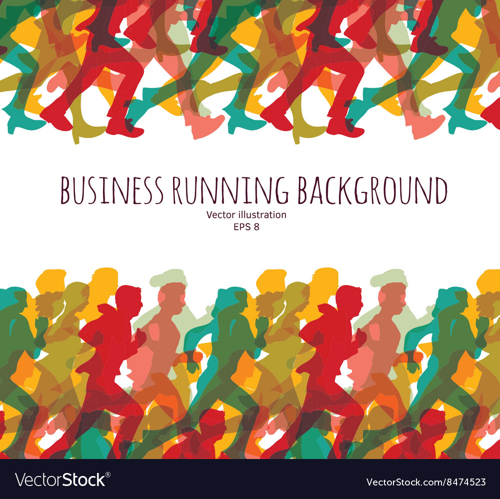 Color crowd people business run carrier background vector image