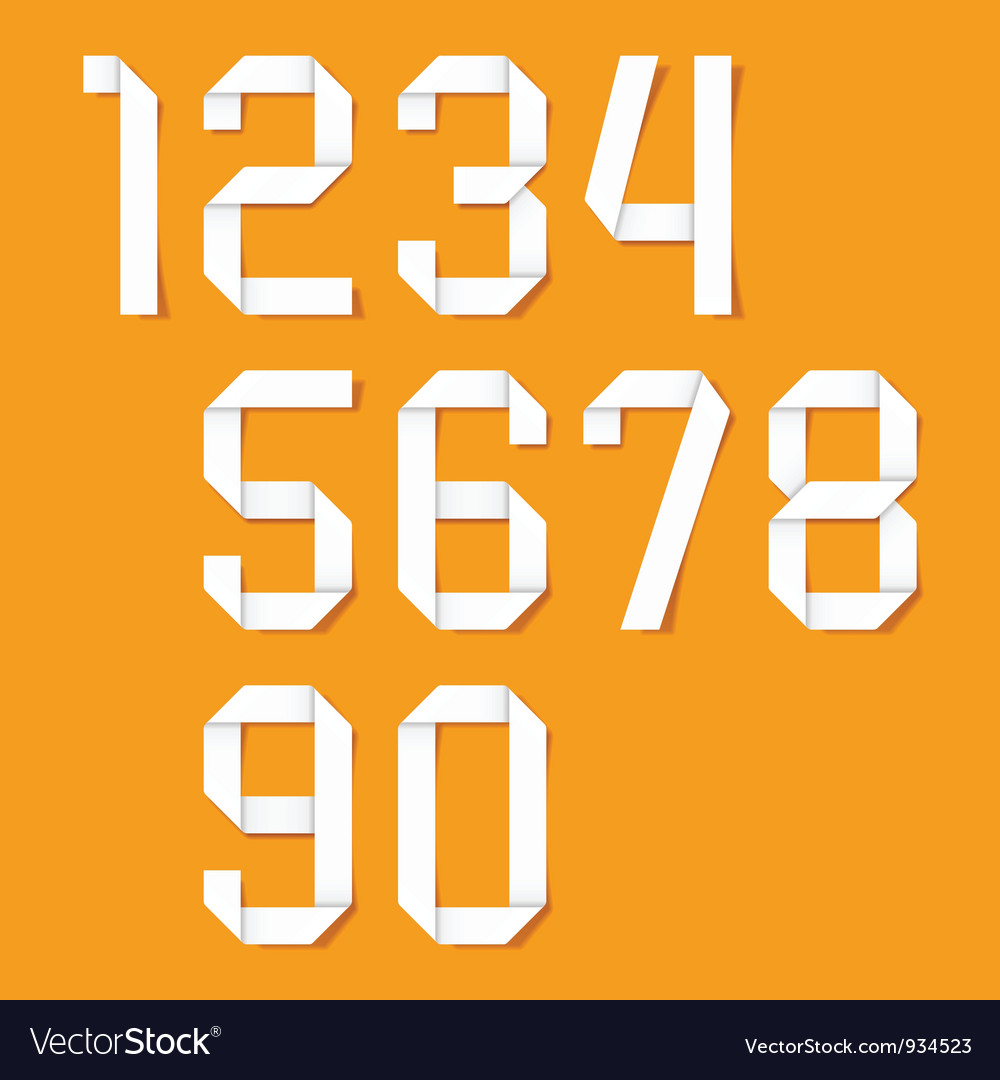 Origami numbers set vector image
