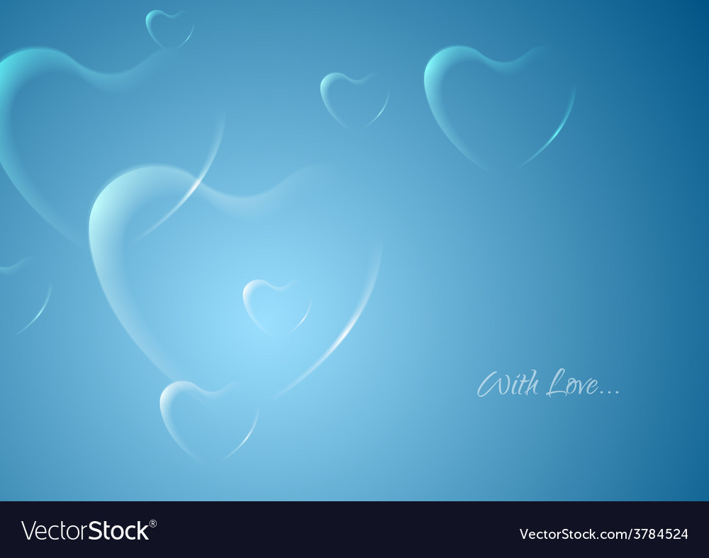 Shiny hearts on blue background vector image