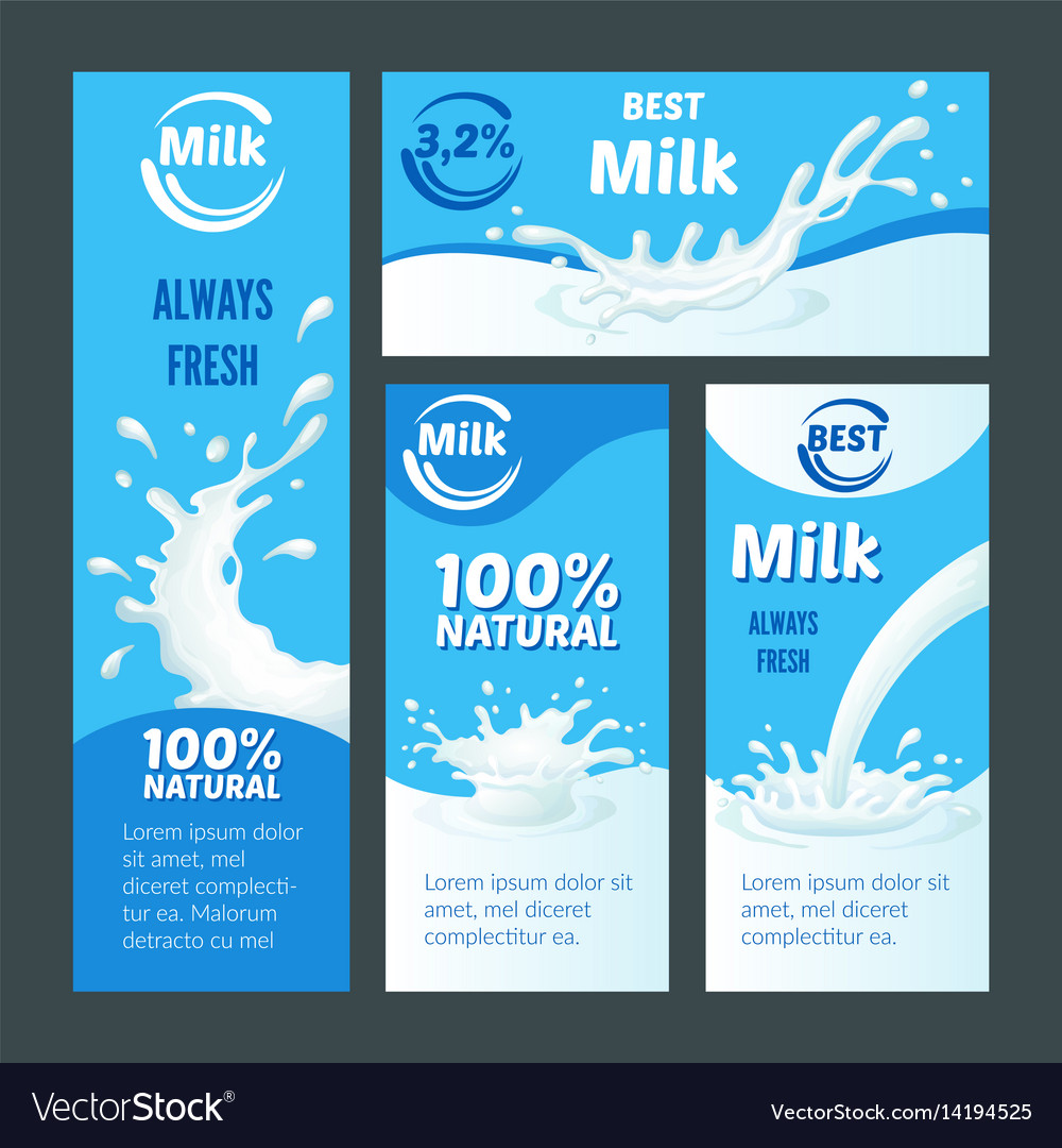 Cartoon natural milk brochures vector image