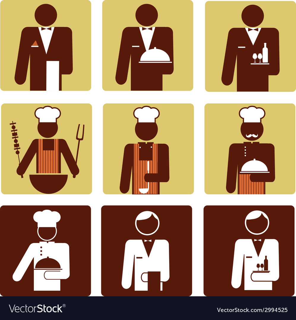 Nine chef and waiter icons vector image