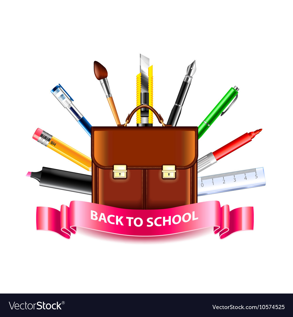 Schoolbag and drawing tools back to school concept vector image