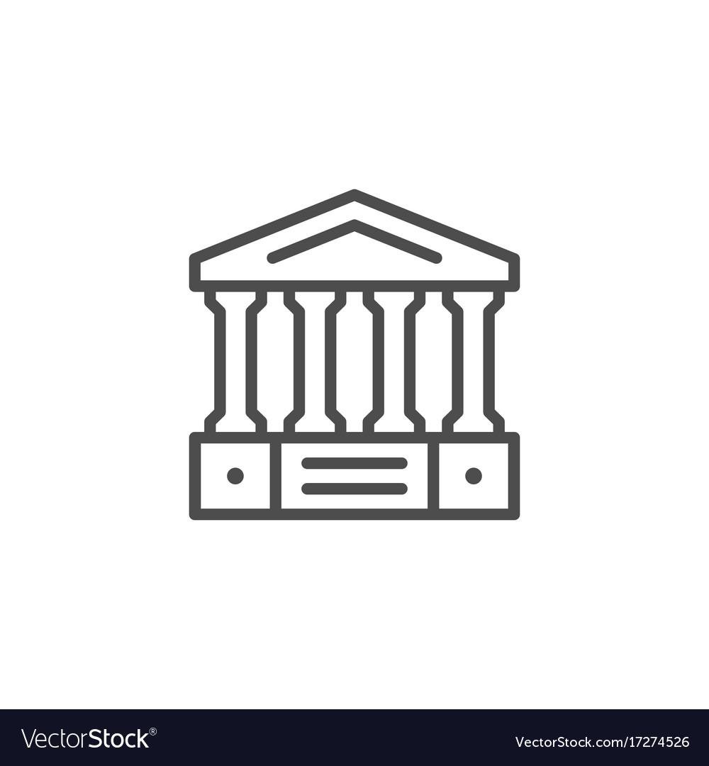 Ancient building line icon vector image