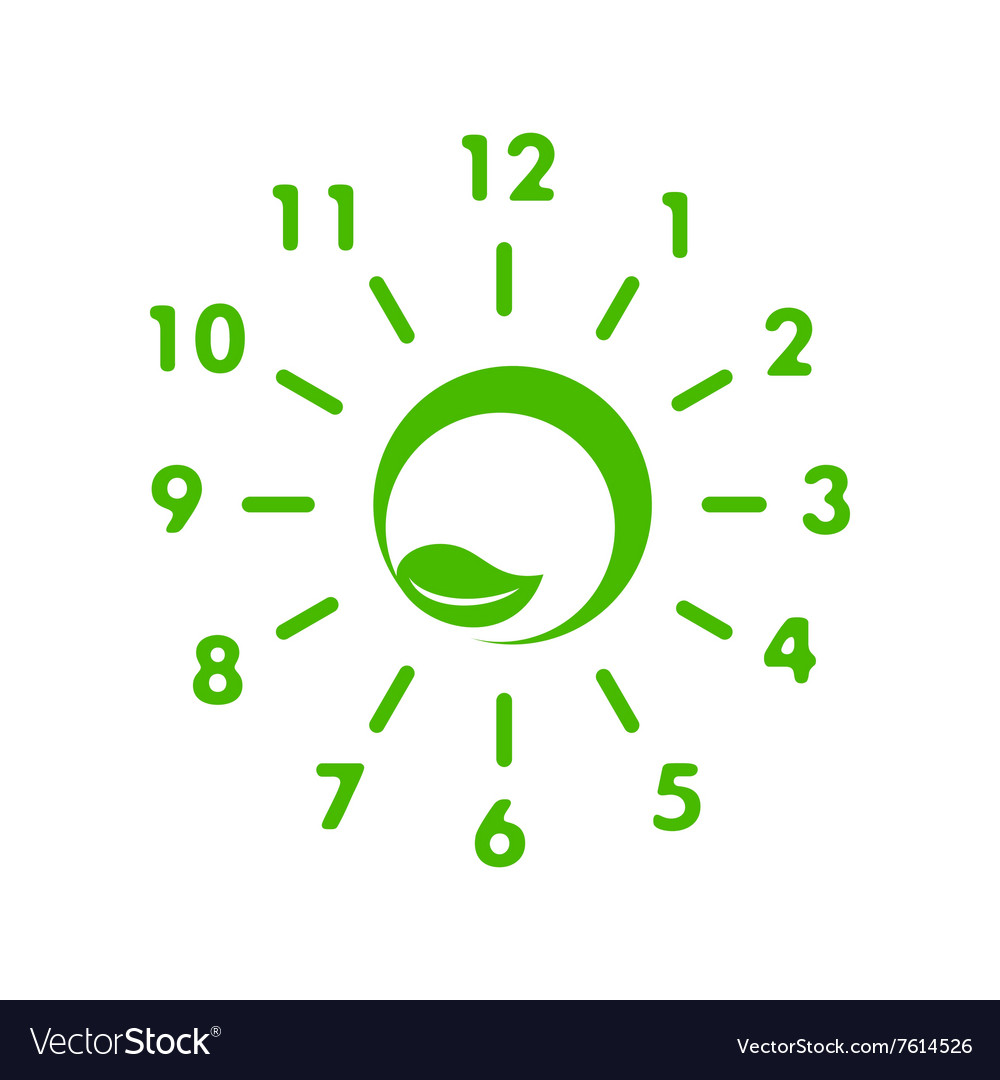 Clock made of green leaf icon simple style vector image