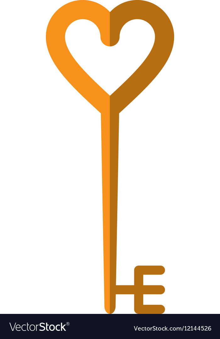 Golden key shaped heart vector image