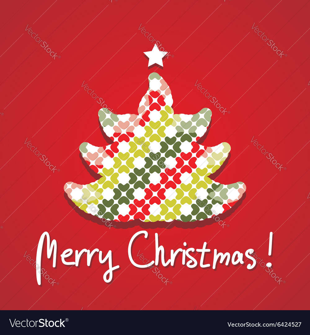 Christmas tree silhouette postcard vector image