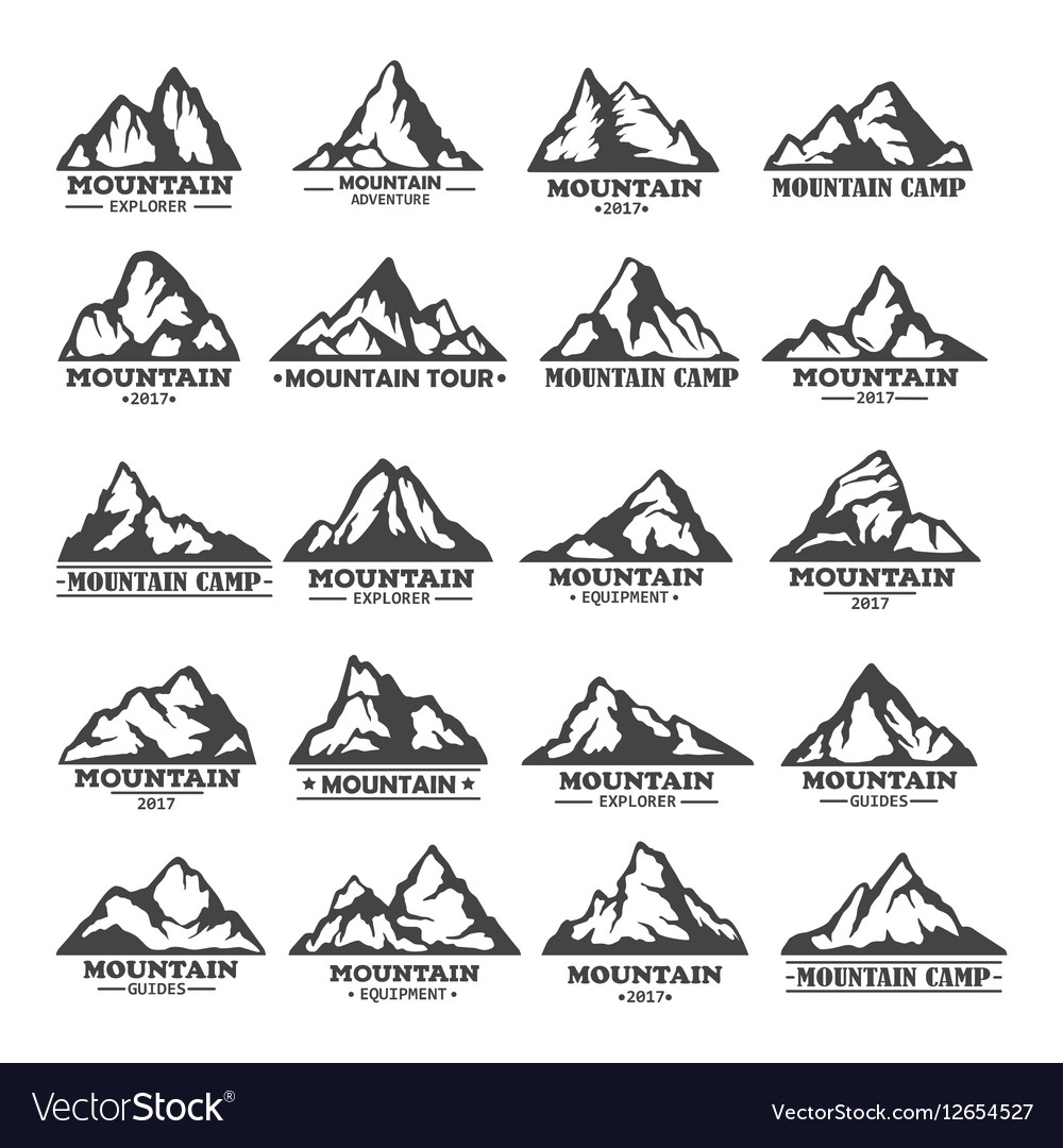 Isolated set of winter mountains silhouettes vector image