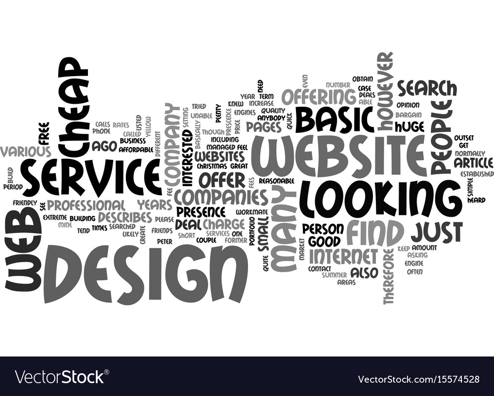 Basic website design service text word cloud vector image
