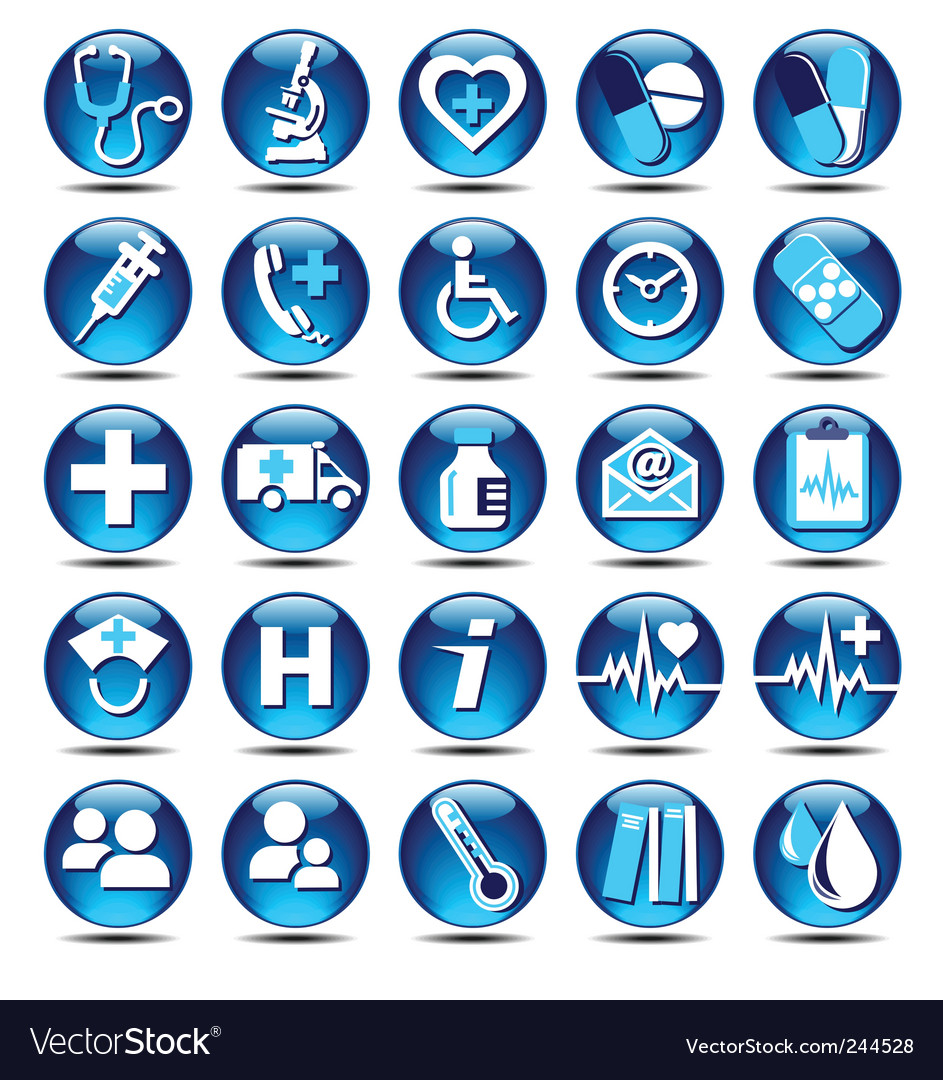 Glossy medical icons vector image