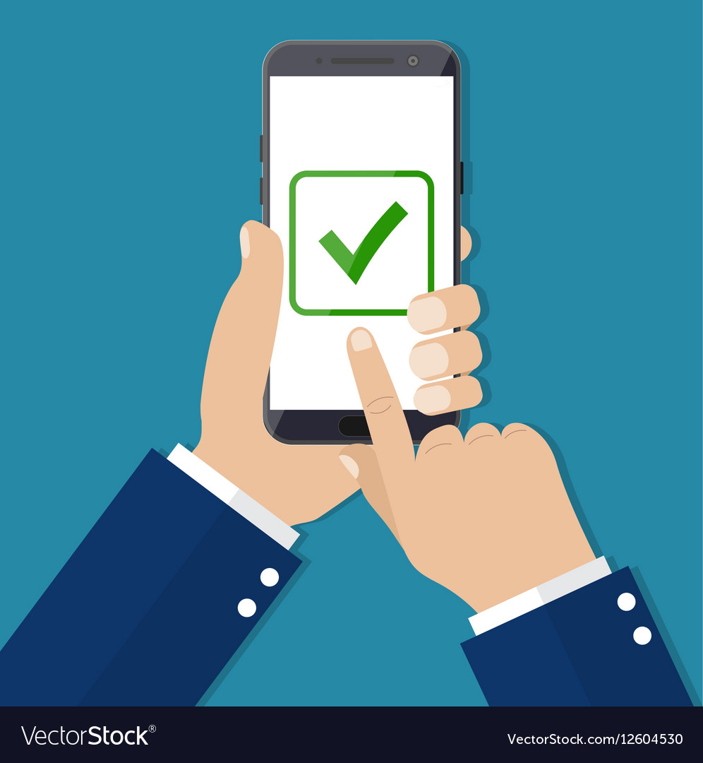Checkboxes on smartphone screen vector image