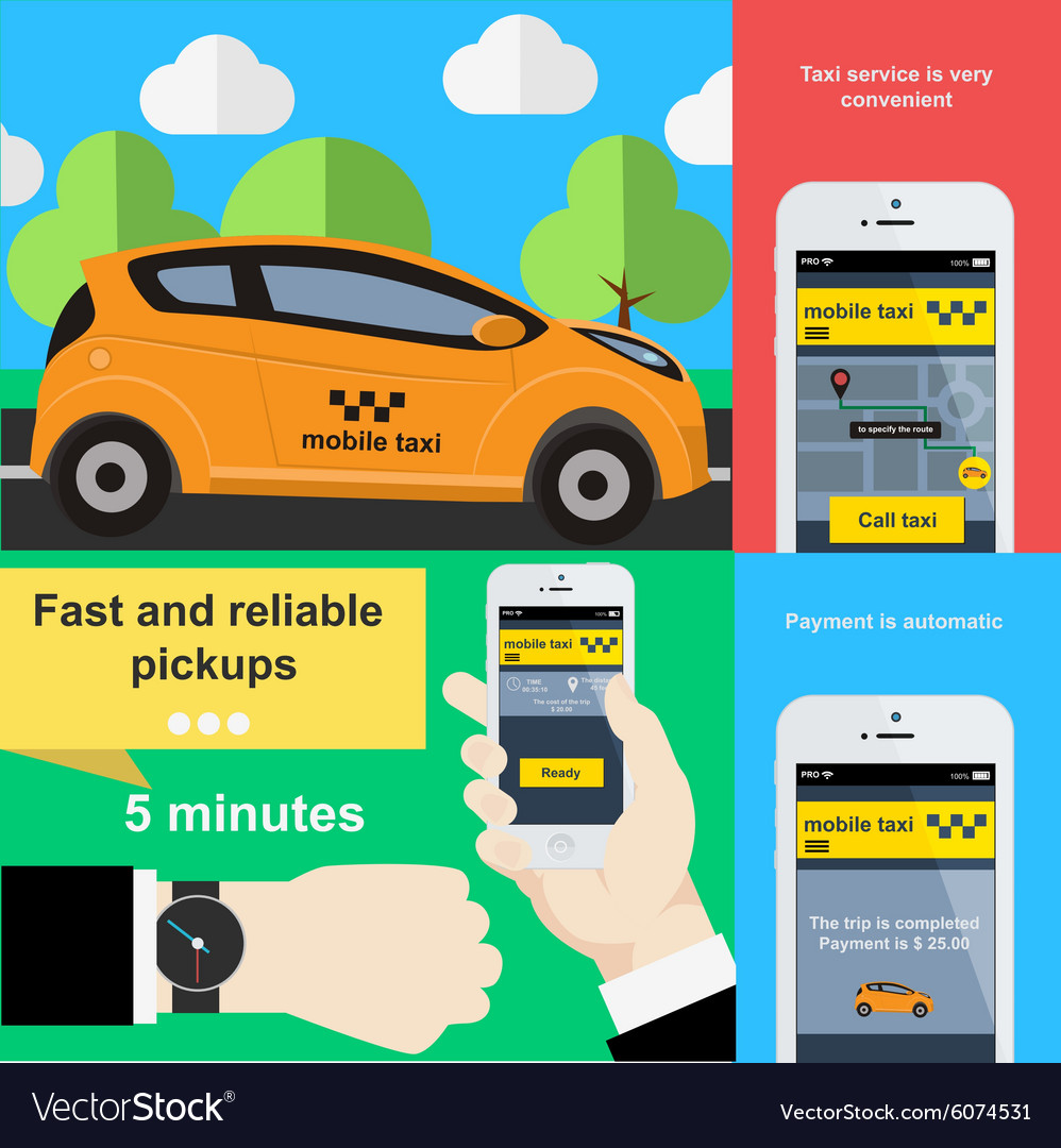 Mobile phone application to book taxi service vector image