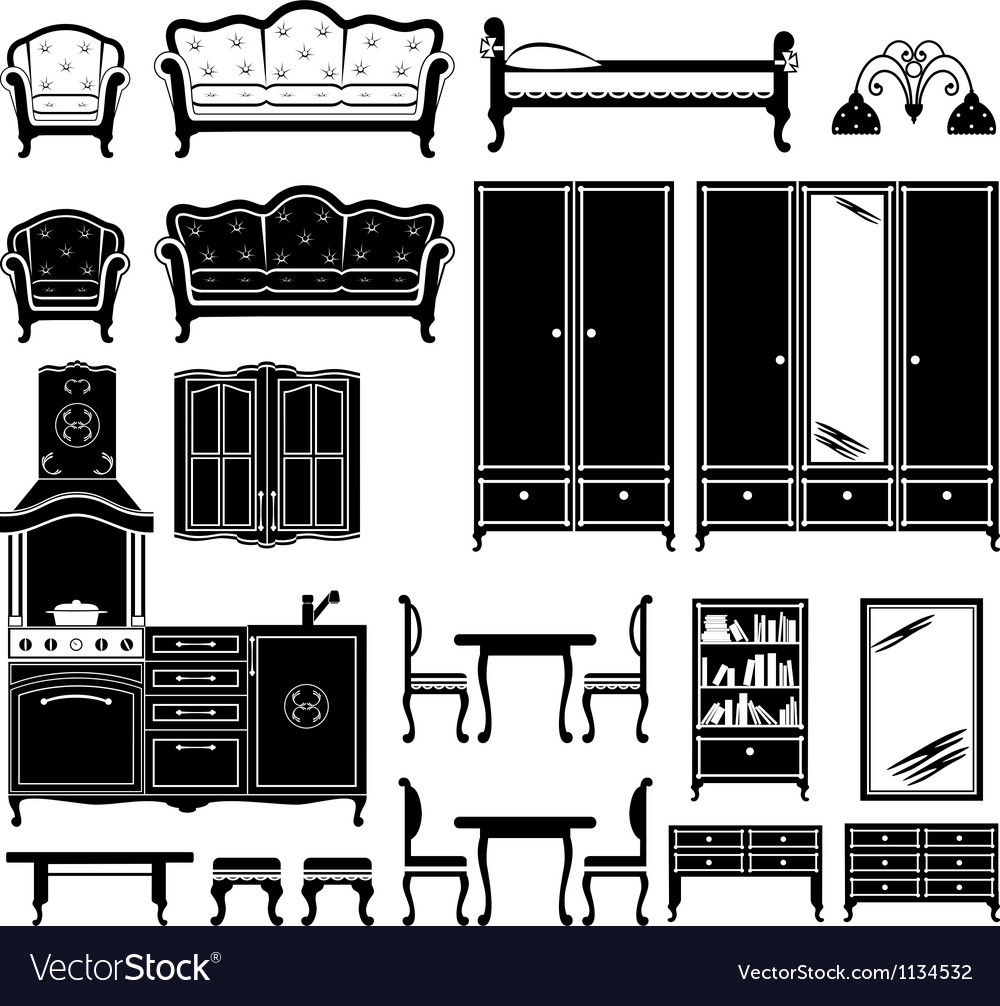 Black icons of furniture vector image