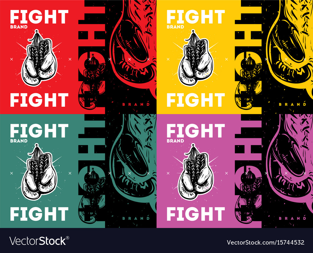Boxing gloves in vintage style vector image