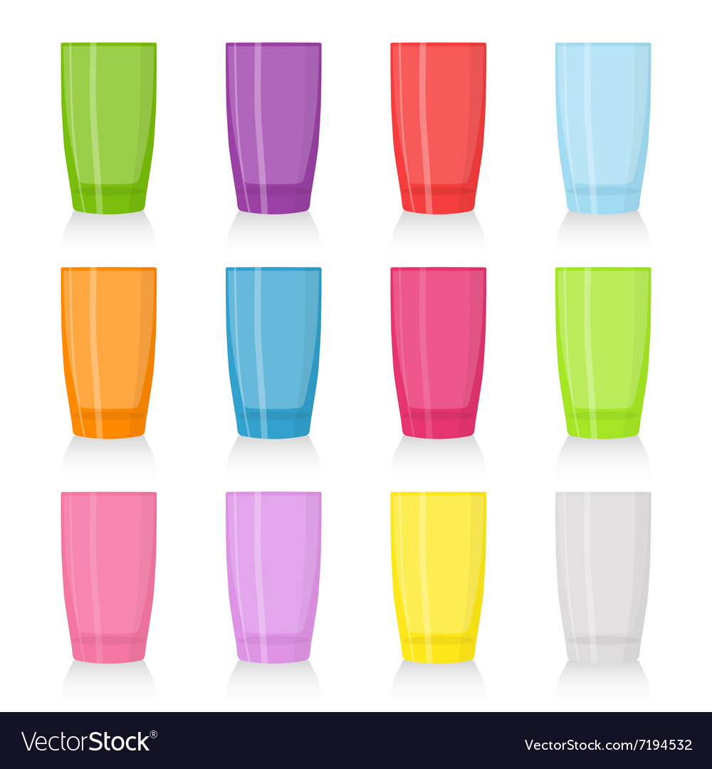 Set of colored glasses for beverages vector image