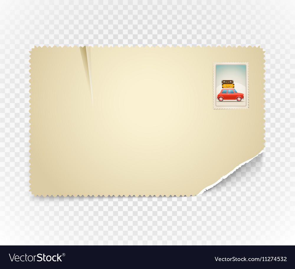 Vintage postcard on transparent background vector image