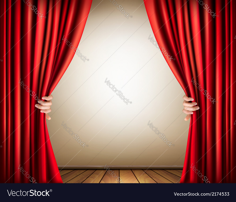 Background with a stage and a curtain vector image