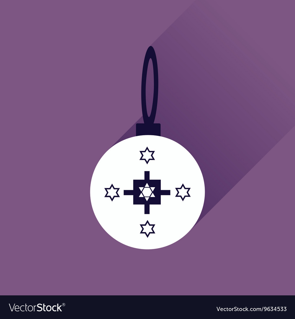 Flat icon with long shadow Hanukkah ball