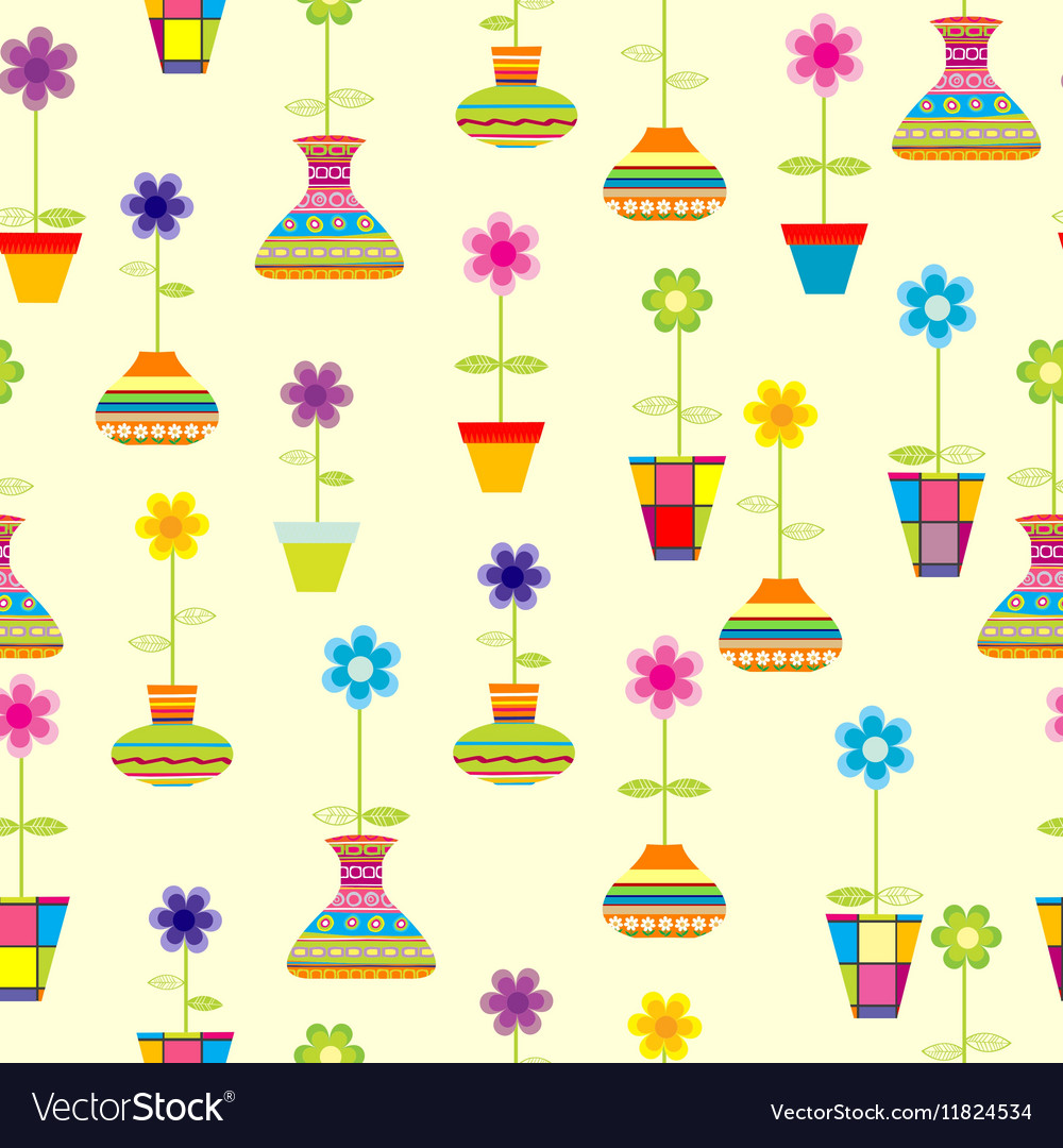 Seamless with spring colorful flowers in pots vector image