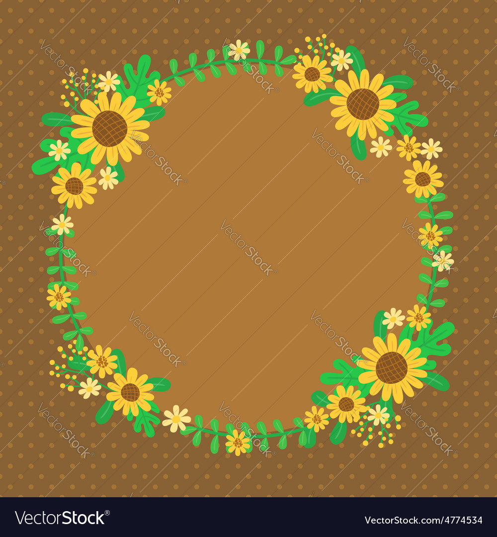 Sunflowers spring card vector image