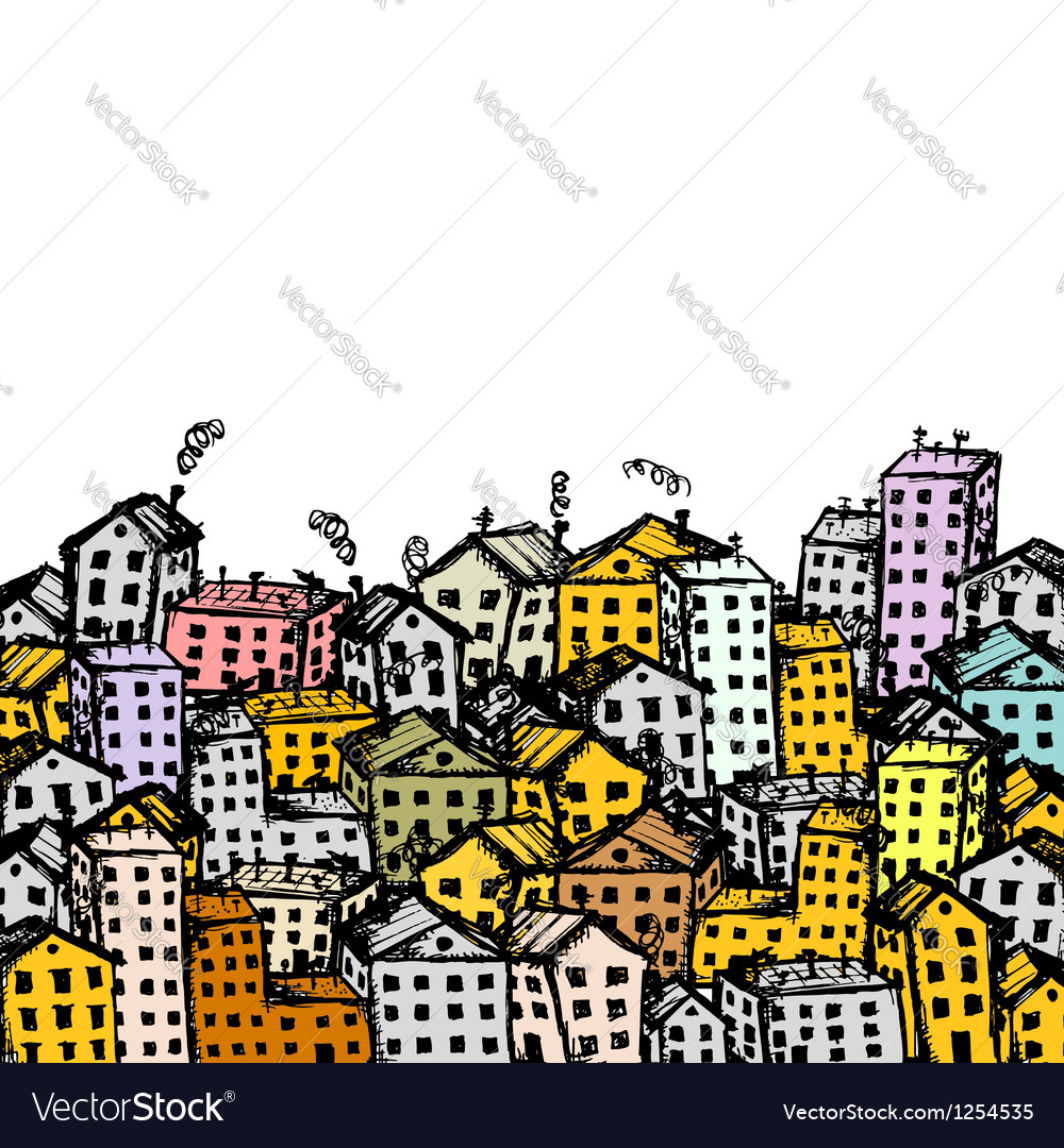 City sketch background for your design vector image