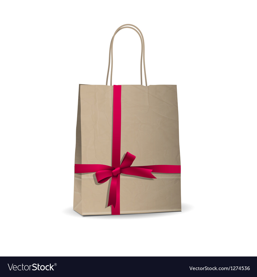 Empty shopping brown bag Vector Image