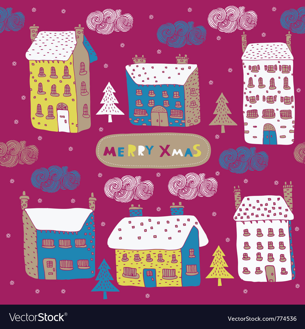 Township winter wallpaper vector image