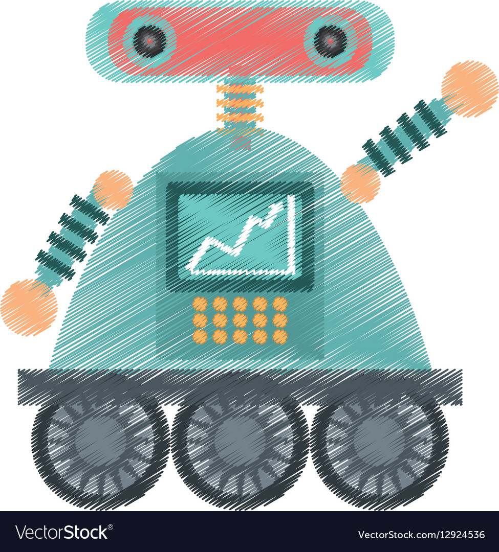 Drawing robot android automation icon vector image