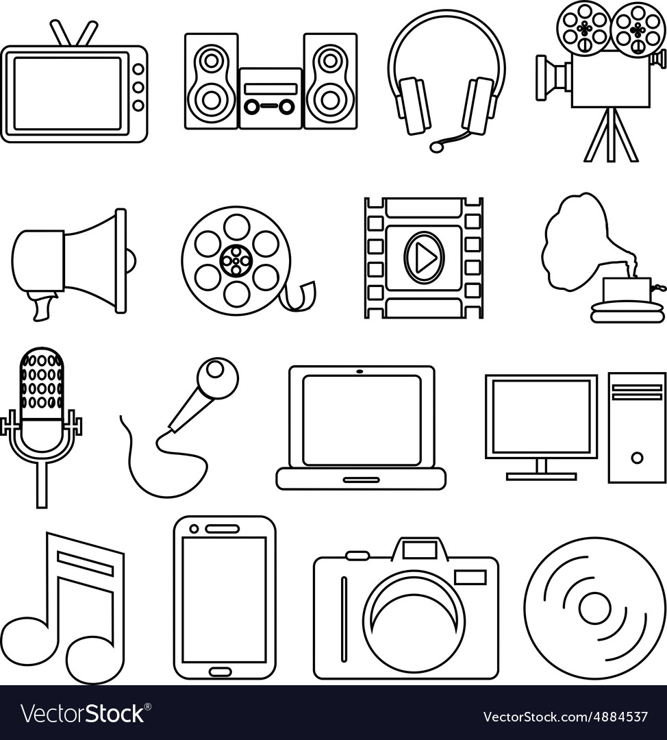Entertainment line icons set vector image