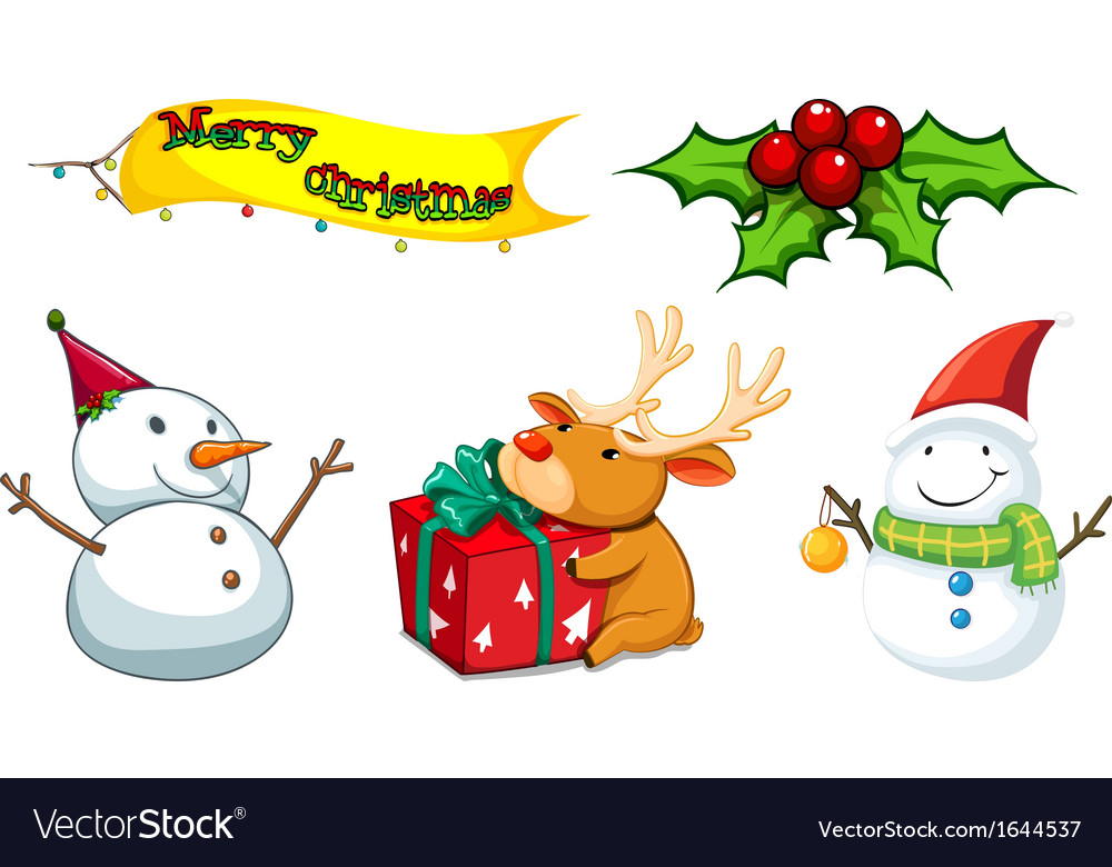 Five Christmas Symbols Royalty Free Vector Image