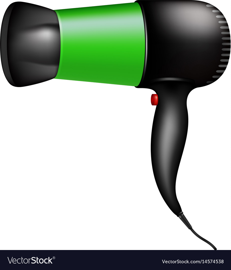 Electric hair dryer in green design vector image