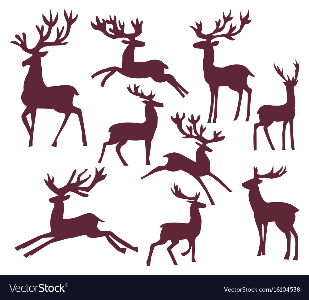 Set of silhouette deer character vector image