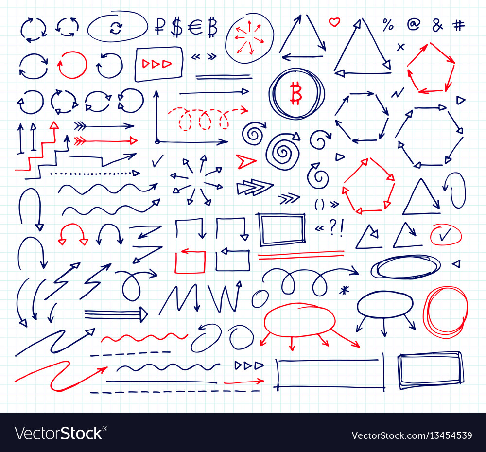 Handcrafted elements hand drawn arrows set vector image