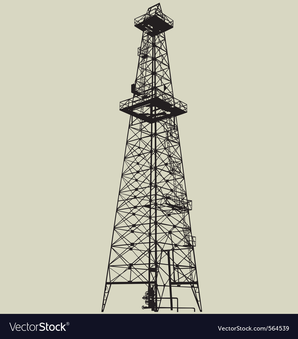 Oil well silhouette vector image