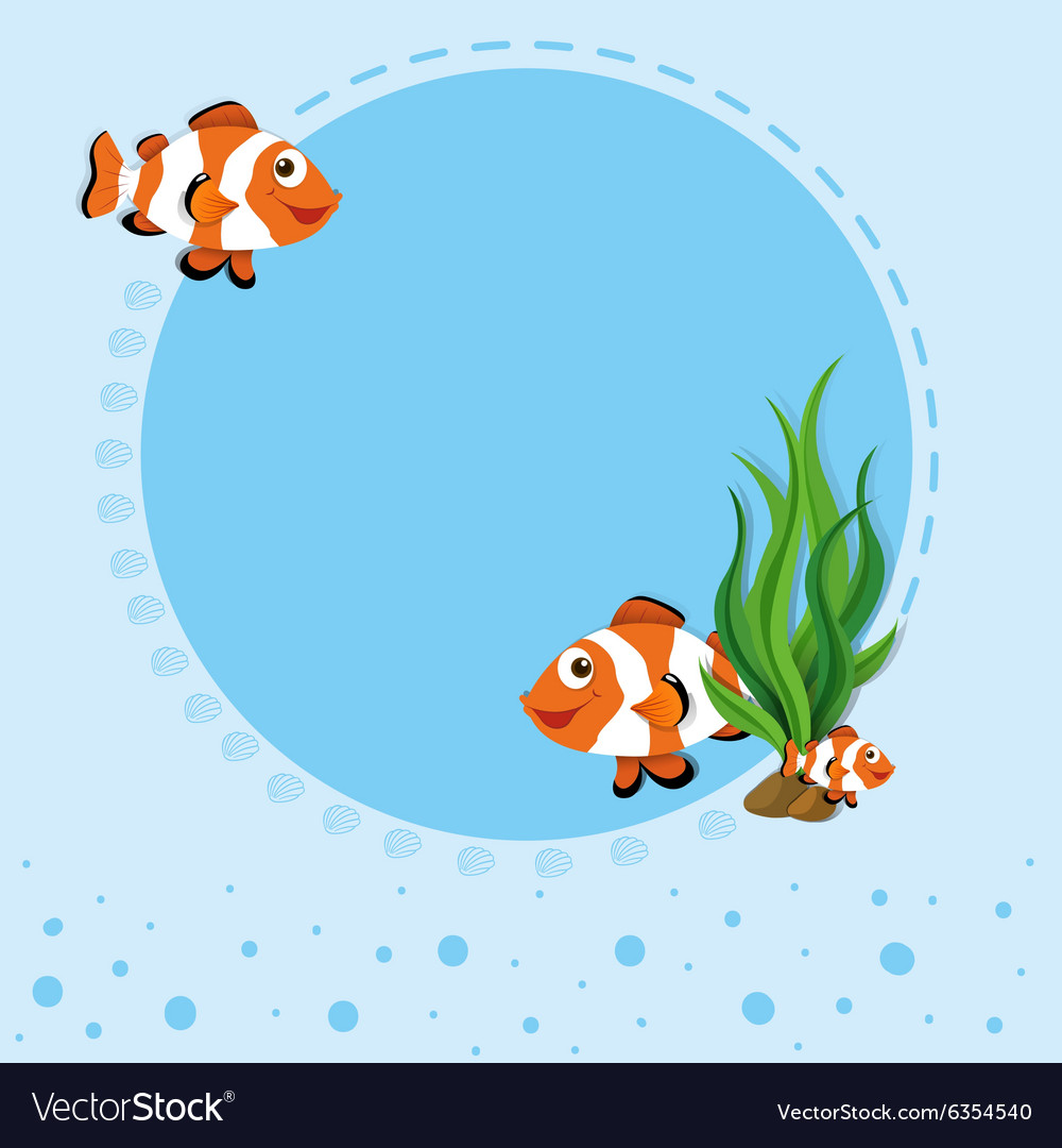 Border design with clownfish vector image