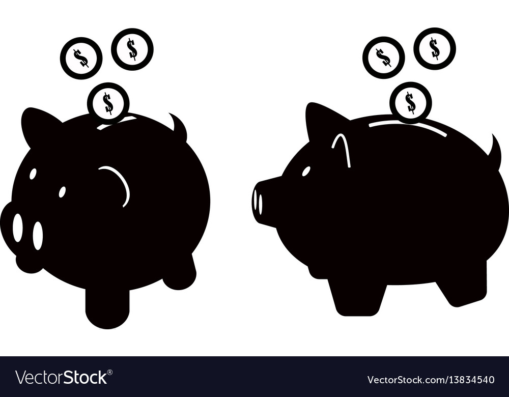 Piggy bank icons set isolated on white background vector image