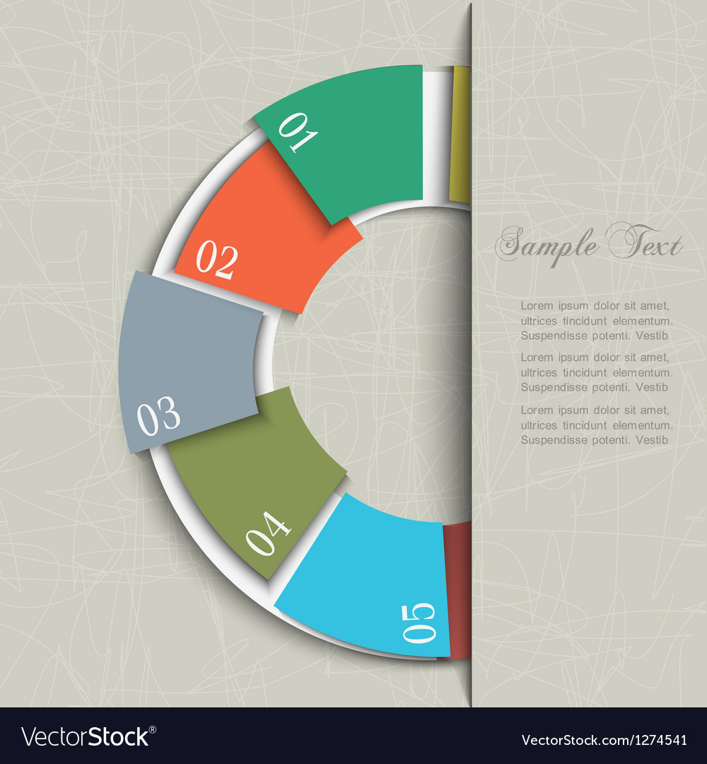 Half circle design template for infographics vector image