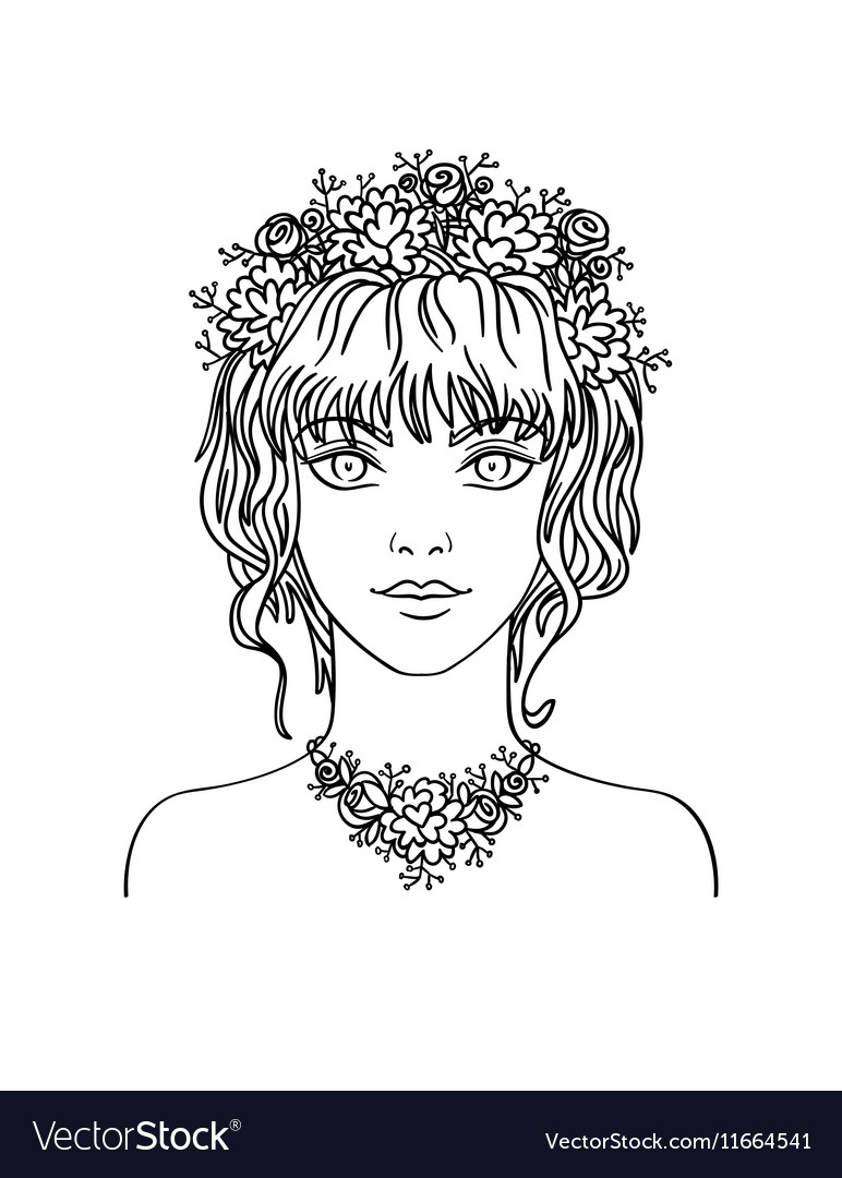 Hand drawn young girl with curly hair and flowers vector image