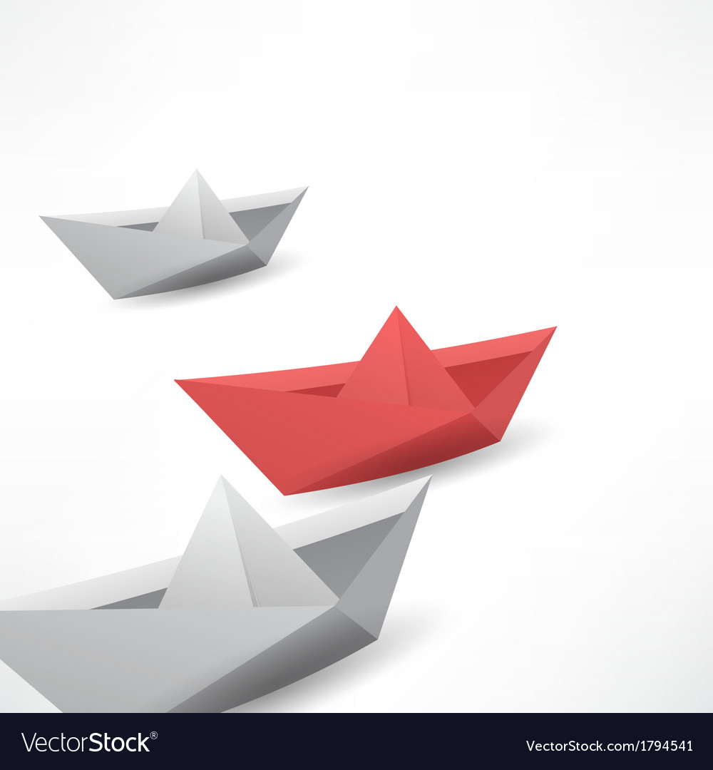Winner red paper ship vector image